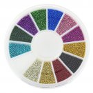 Blueness 12 colors Mixed Alloy Glitter 3D Nails Art Jewelry Decorations