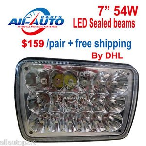 "1 pair 7"" x 6"" 54W LED sealed beam 54W LED work light LED high low beams"