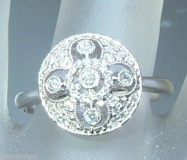 Antique Style 0.23ct Diamond Pave Circle Halo Ring White Gold 14kt
