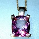 Cushion Pink Topaz Solitaire Pendant 14kt Yellow Gold