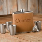 Hide Stitch Flask & Shot Glass Gift Box Set
