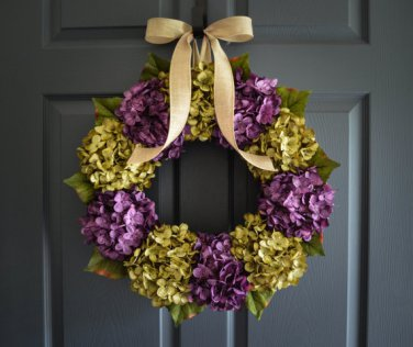 Hydrangea Wreath | Green & Purple | Front Door Wreath | Wreath | Winter Wreath | Housewarming Gift