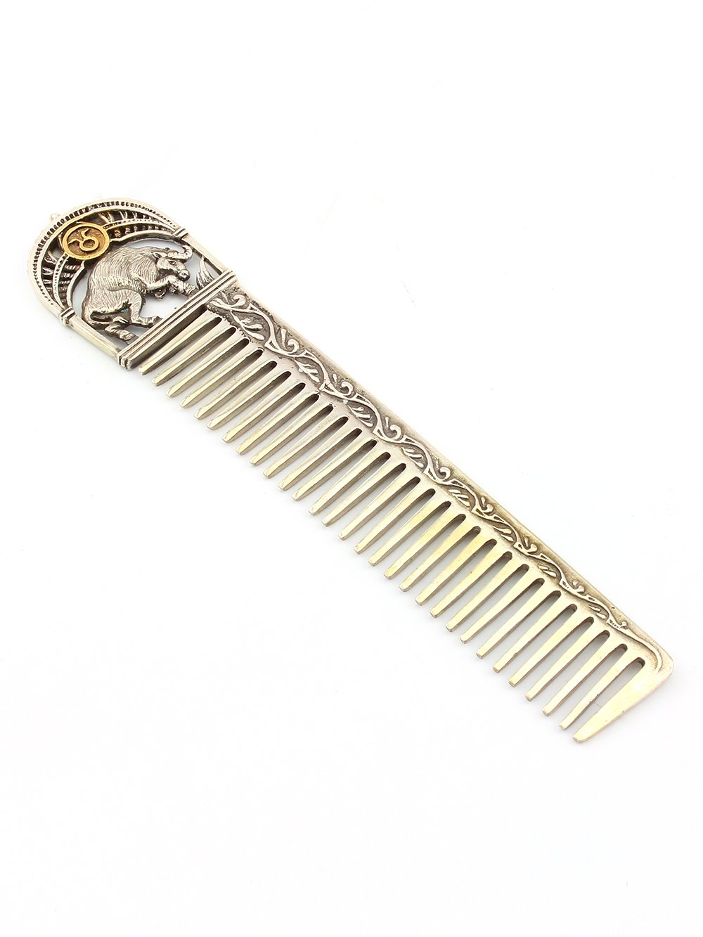 """Silver Hair comb with Signs of the Zodiac """"Taurus"""""""