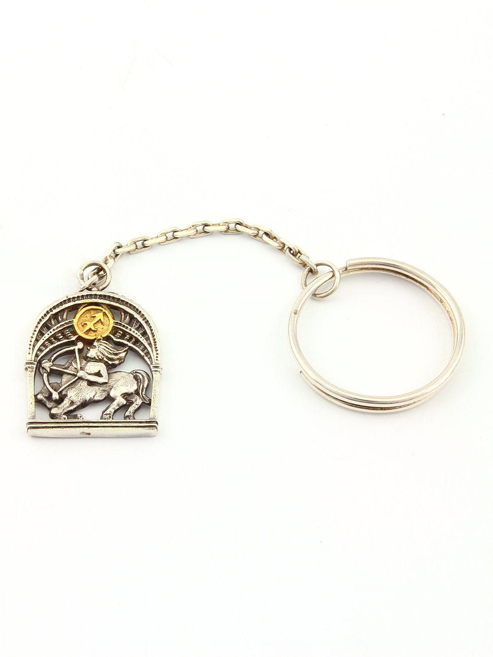 "Silver Key chain with Signs of the Zodiac ""Sagittarius"""