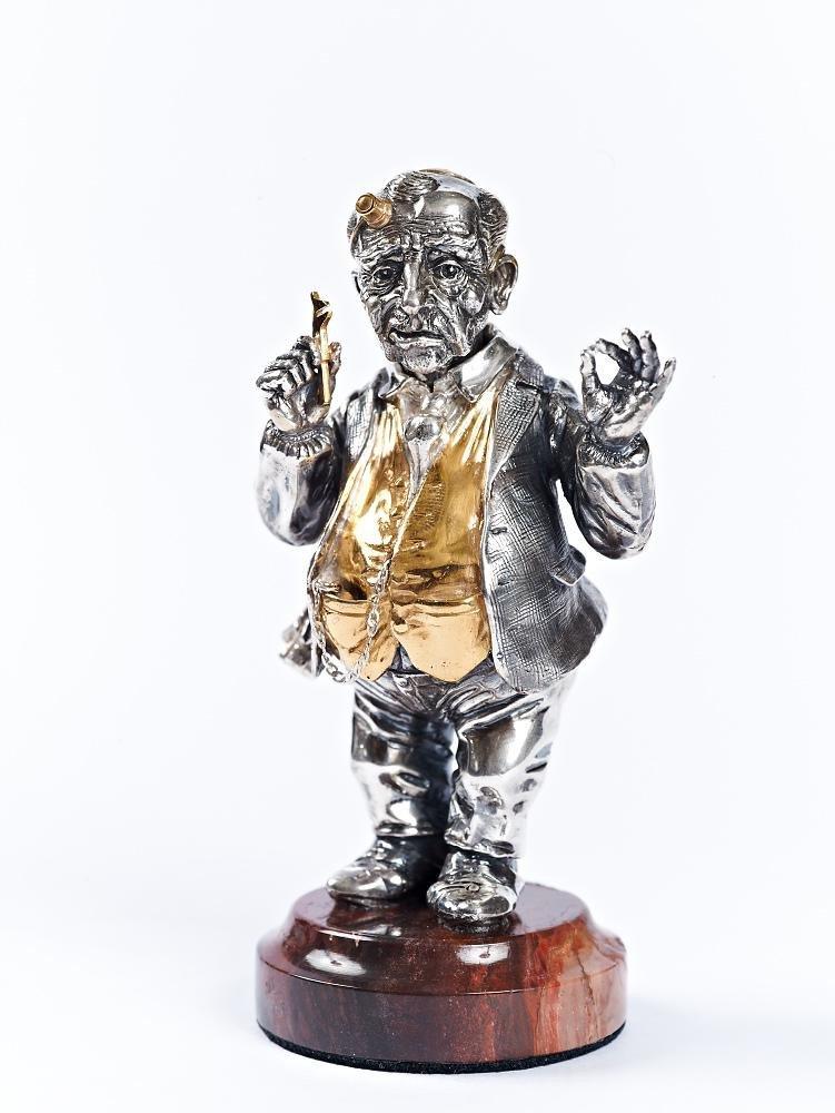 """Silver Figurine """"Jew Izy Jeweler"""""""