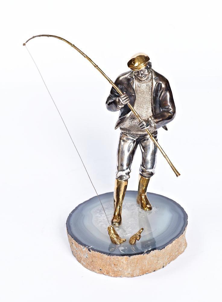 "Silver Statue figurine ""Fisherman"""