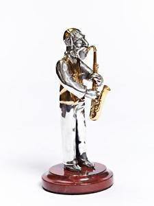 "Silver Figurine ""Jew with saxophone"""