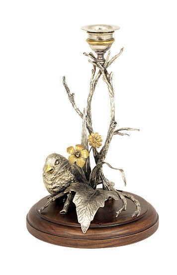 """Silver Candlestick """"Bird"""""""