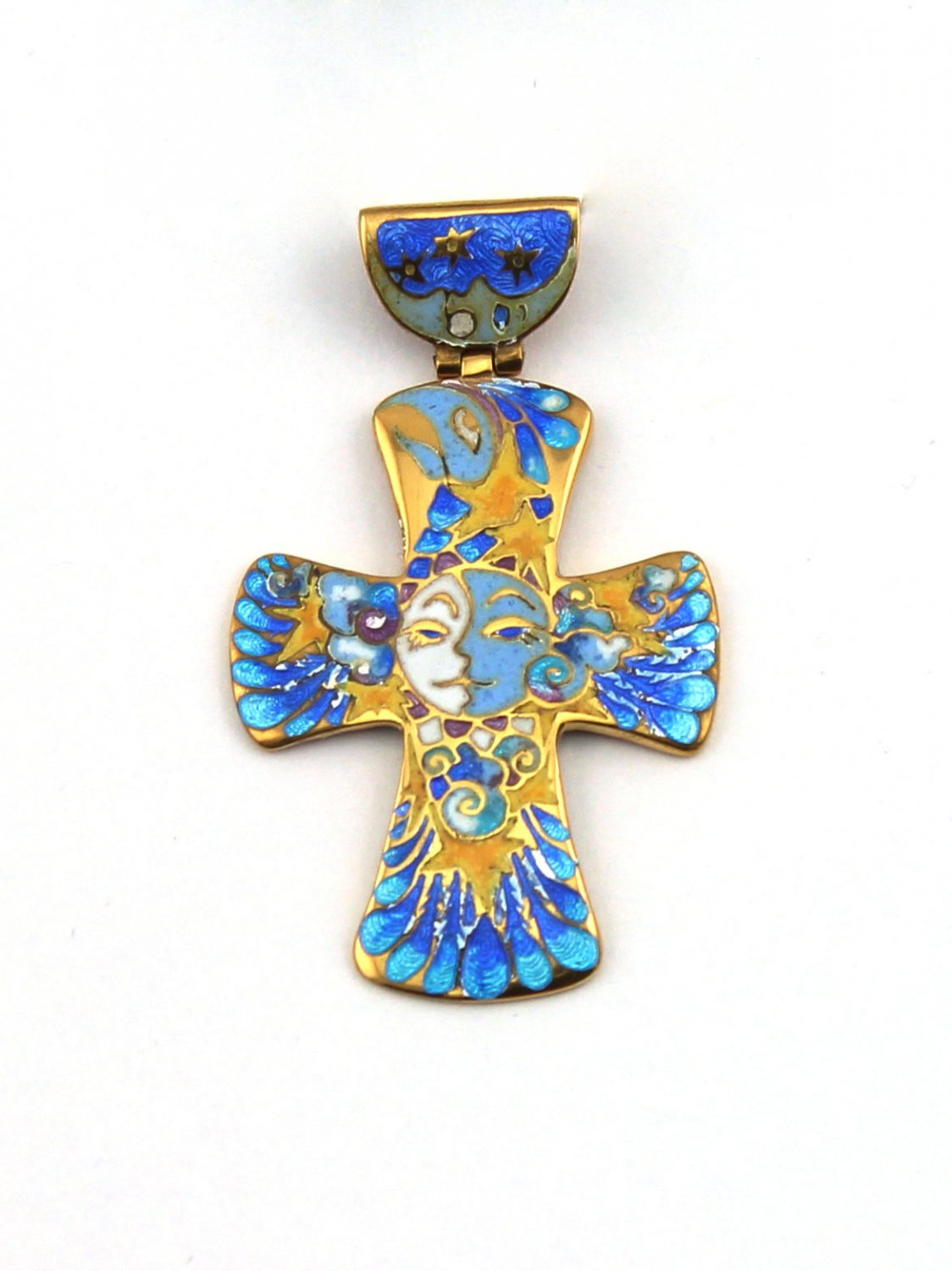 Silver Enamel Pendant Day and Night, Sun and Moon, Enamel Cross