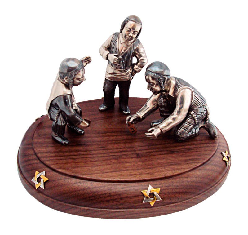 "Silver statue figurine  ""Playing Dreidel"""