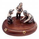 "Silver statue figurine  ""Playing Dreidel"""