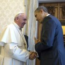 PRES. BARACK OBAMA AFTER PRIVATE AUDIENCE WITH POPE FRANCIS 8X10 PHOTO (DA-461)
