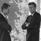 PRES JOHN F KENNEDY SPEAKS W/ BROTHER BOBBY AT WHITE HOUSE - 8X10 PHOTO (AA-753)