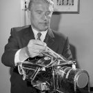 WERNHER VON BRAUN EXAMINES APOLLO 15 COLOR TELEVISION CAMERA 8X10 PHOTO (BB-030)