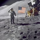 APOLLO 15 ASTRONAUT DAVE SCOTT SALUTES AMERICAN FLAG ON MOON 8X10 PHOTO (ZZ-120)