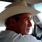 PRESIDENT GEORGE W. BUSH WEARING COWBOY HAT AT HIS RANCH - 8X10 PHOTO (DA-519)