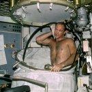 ASTRONAUT JACK LOUSMA 'BATHES' ON SKYLAB 3 - 8X10 NASA PHOTO (AA-078)