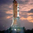 APOLLO - SOYUZ SATURN 1B ON PAD DURING COUNTDOWN TEST - 8X10 NASA PHOTO (EP-167)
