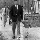 PRESIDENT JOHN F. KENNEDY WITH JOHN, JR. AT CAMP DAVID - 8X10 PHOTO (BB-225)