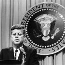 PRESIDENT JOHN KENNEDY SPEAKS AT 1963 PRESS CONFERENCE - 8X10 PHOTO (AA-194)