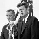 PRESIDENT JOHN F. KENNEDY WITH VP LYNDON JOHNSON IN 1962 - 8X10 PHOTO (AA-224)