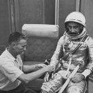MERCURY ASTRONAUT GUS GRISSOM FITTED IN FLIGHT SUIT - 8X10 NASA PHOTO (AA-230)