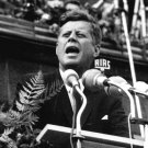 PRESIDENT JOHN F. KENNEDY SPEAKS IN BERLIN IN 1963 - 8X10 PHOTO (AA-248)