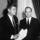 PRESIDENT JOHN F. KENNEDY MEETS WITH GEORGE McGOVERN - 8X10 PHOTO (BB-322)