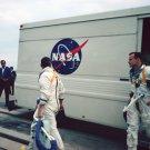 APOLLO 1 ASTRONAUTS ROGER CHAFFEE ED WHITE DEPART NASA VAN - 8X10 PHOTO (ZZ-116)