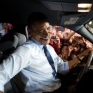 PRESIDENT BARACK OBAMA IN FORD TRUCK AFTER SPEECH - 8X10 PHOTO (ZZ-503)
