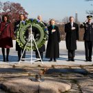 PRES. BARACK OBAMA WITH BILL CLINTON AT KENNEDY GRAVESITE - 8X10 PHOTO (ZZ-508)