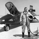 NASA RESEARCH PILOT BILL DANA STANDS NEXT TO X-15 - 8X10 PHOTO (AA-364)