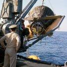 GEMINI 8 IS HOISTED ABOARD THE USS LEONARD F. MASON - 8X10 NASA PHOTO (AA-551)