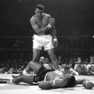 MUHAMMAD ALI STANDS OVER SONNY LISTON IN LEWISTON MAINE 1965 8X10 PHOTO (ZY-152)