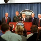 DONALD RUMSFELD & OTHERS AT PENTAGON BRIEFING SEPTEMBER 11 - 8X10 PHOTO (EP-465)