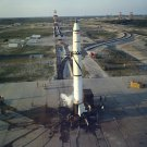 REDSTONE MISSILE NO. 1002 ON LAUNCH PAD AT CAPE CANAVERAL - 8X10 PHOTO (AA-825)