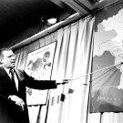 DEFENSE SECRETARY ROBERT McNAMERA POINTS TO MAP OF VIETNAM - 8X10 PHOTO (AA-860)