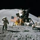 APOLLO 15 LUNAR MODULE PILOT JAMES IRWIN SALUTES FLAG - 8X10 NASA PHOTO (BB-063)
