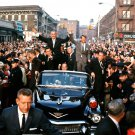 LYNDON B JOHNSON CAMPAIGNS WITH ROBERT KENNEDY IN BROOKLYN - 8X10 PHOTO (BB-780)