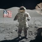 APOLLO 17 ASTRONAUT GENE CERNAN NEAR FLAG ON MOON - 8X10 NASA PHOTO (EP-521)