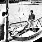 JOHN F. KENNEDY AND EDWARD M. KENNEDY IN A SAILBOAT 1946 - 8X10 PHOTO (BB-824)