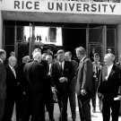 PRESIDENT JOHN F. KENNEDY AT GATES OF RICE STADIUM IN 1962 - 8X10 PHOTO (AA-239)