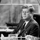 PRESIDENT JOHN F. KENNEDY AT HIS DESK IN THE OVAL OFFICE - 8X10 PHOTO (AZ-029)