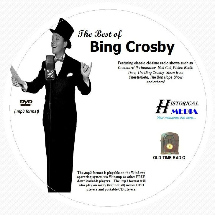 BEST OF BING CROSBY - 266 Shows Old Time Radio In MP3 Format OTR On 1 DVD