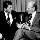 PRESIDENT RONALD REAGAN CONSULTS WITH GERALD FORD - 8X10 PHOTO (BB-056)