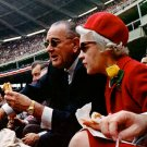 LYNDON JOHNSON & MAINE SEN MARGARET CHASE AT BASEBALL GAME - 8X10 PHOTO (BB-058)