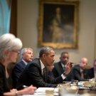 PRESIDENT BARACK OBAMA LEADS CABINET MEETING @ WHITE HOUSE - 8X10 PHOTO (CC-070)