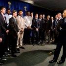 BARACK OBAMA w/ UNIVERSITY OF KANSAS MENS BASKETBALL TEAM - 8X10 PHOTO (EE-003)