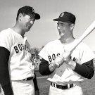 TED WILLIAMS & CARL YASTRZEMSKI BEFORE GAME IN 1963 - 8X10 SPORTS PHOTO (DD-135)
