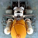 SPACE SHUTTLE ATLANTIS OVERHEAD VIEW AS IT ROLLS TO PAD 8X10 NASA PHOTO (EP-307)